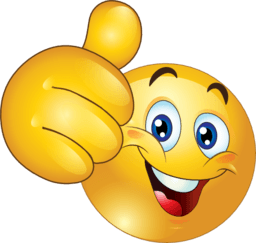 A drawing of an emoticon for thumbs up
